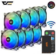 Darkflash PC Case Fan Computer 120mm Fan Clear Frame Quiet+Remote Computer Cooling CPU Cooler ASUS AURA SYNC RGB Case Fan CF8 rainbow lights rgb adjustable color cooling fan 120mm led pc computer silent case fan controller dja99