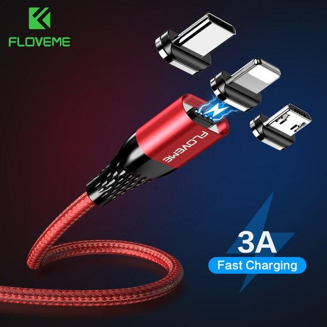 FLOVEME Magnetische Usb Ladekabel Micro Usb Typ C Magnet Schnelle Ladegerät Draht Kabel 3a Für iphone Samsung Redmi Hinweis 7 8 Microusb