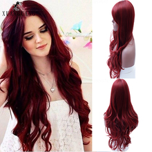 XUANGUANG Lady wig red long hair wig synthetic wavy black si