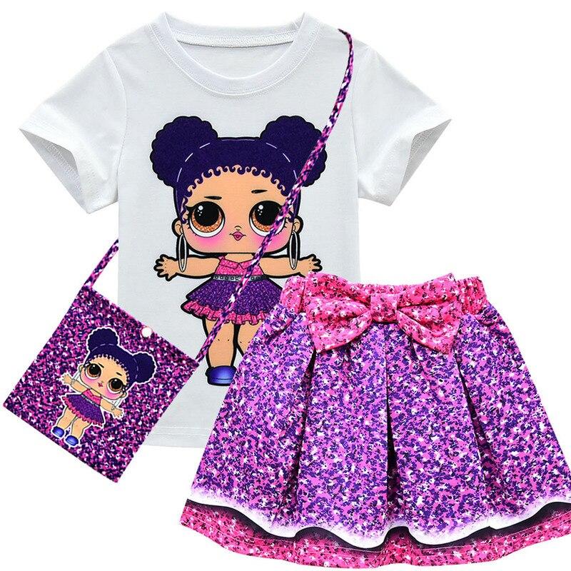 Clothes-Sets Skirt Short-Sleeve Lol Print Girls Kids 3-Piece Children's Cartoon Summer