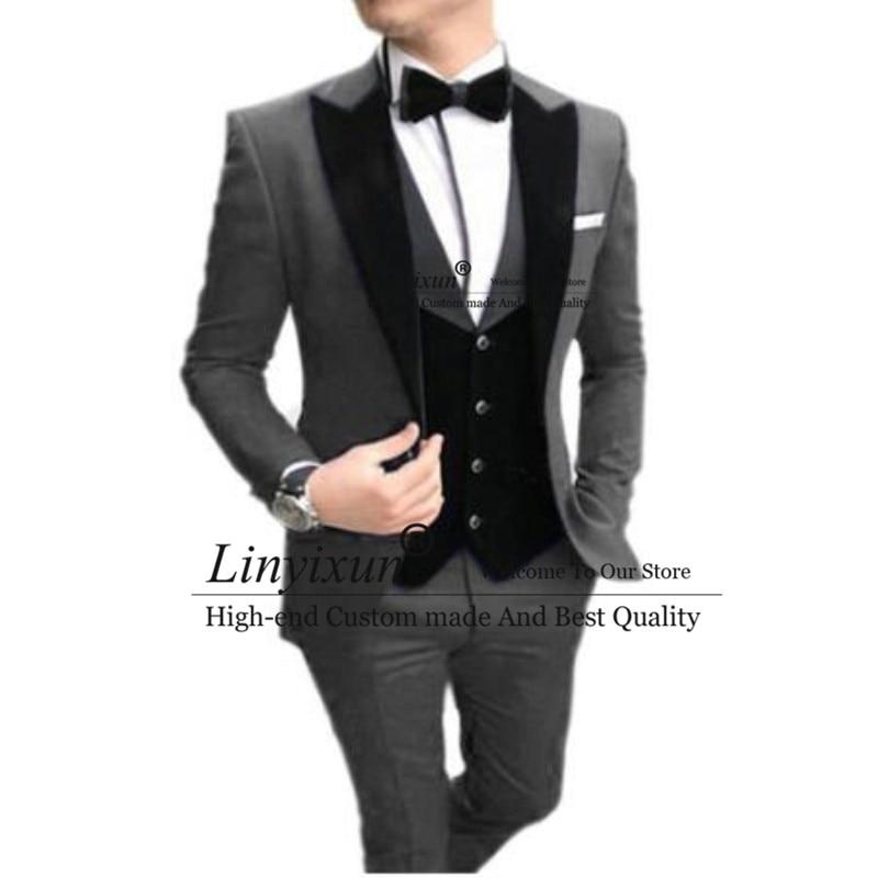 Men's Suit 3 Pieces Casual Slim Fit Black Notch Lapel Vest Best Man Tuxedos For Wedding Party Suits (Blazer+vest+Pants)