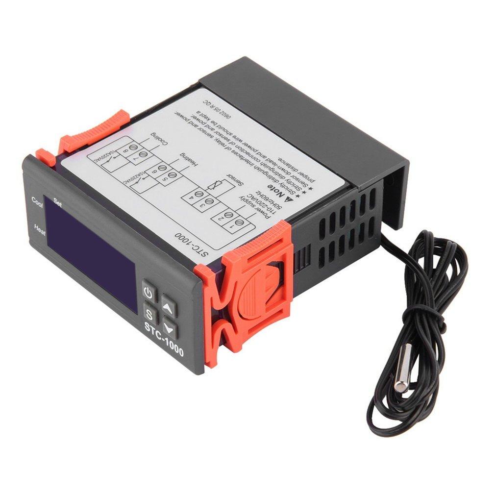 Black Digital STC-1000 All-Purpose Temperature Controller Thermostat With Sensor Temperature Instrument Diagnostic Tool Indoor