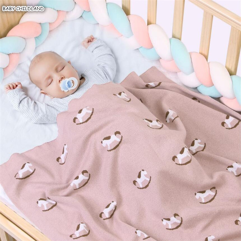 Knitted Baby Blanket Newborn Baby Swaddle Warp Blanket Cotton Baby Receiving Blanket Infant Baby Bedding Crib Stroller Blanket