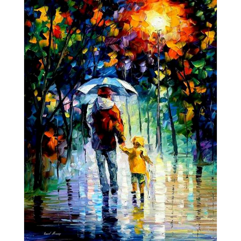 Father and son in the rain DIY Painting By Numbers Figure Canvas Modern Decoration Art picture Gift for home decor Christmas-0
