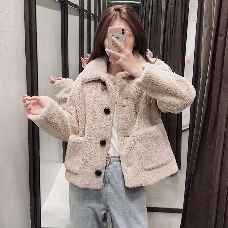Décontracté Teddy manteau femmes hiver tourner vers le bas col mode fourrure veste solide à manches longues grande taille manteaux vêtements d'extérieur nouveauté 2019 - 2