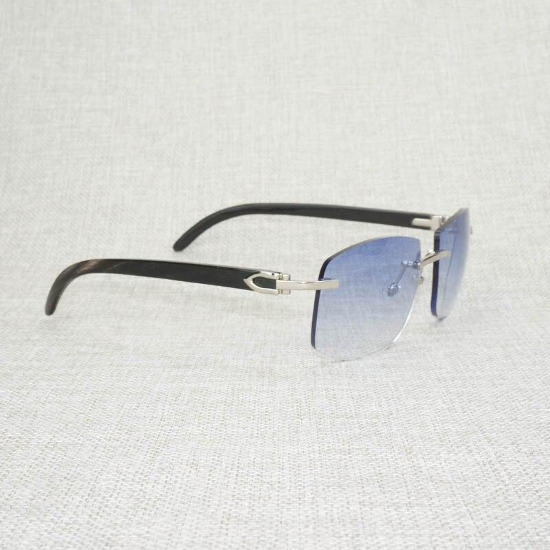 Image 3 - الرجعية الخشب المعتاد النظارات الشمسية الرجال الطبيعية أسود أبيض بوفالو القرن بدون إطار نظارات شمسية للخارجية الصيف Oculos Gafas-في نظارات شمسية رجالية من الملابس والإكسسوارات على AliExpress