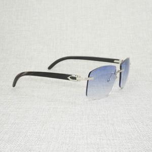 Image 3 - רטרו עץ Oversize משקפי שמש גברים טבעי שחור לבן באפלו הורן משקפי נטולי מסגרת עבור חיצוני קיץ Oculos Gafas