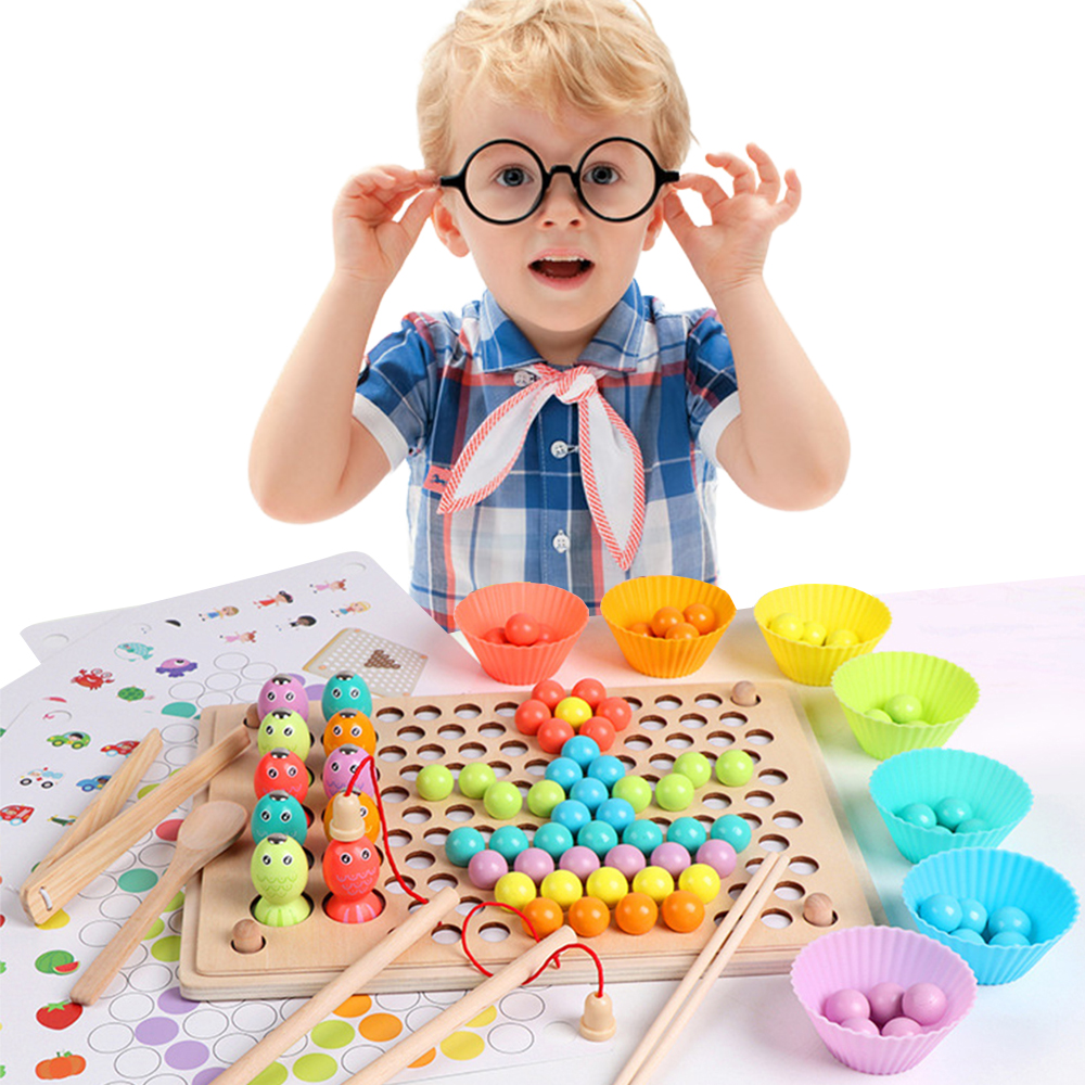 Montessori Wooden Kids Toys Hands Brain Training Clip Beads Puzzle Board Math Game Baby Early Educational Toys For Children