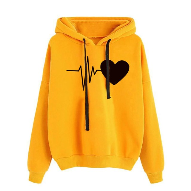 Women Hoodies Casual Love Print Solid Loose Drawstring Sweatshirt Long Sleeve Hooded 2020 Spring Autumn Female Pullover Tops 4