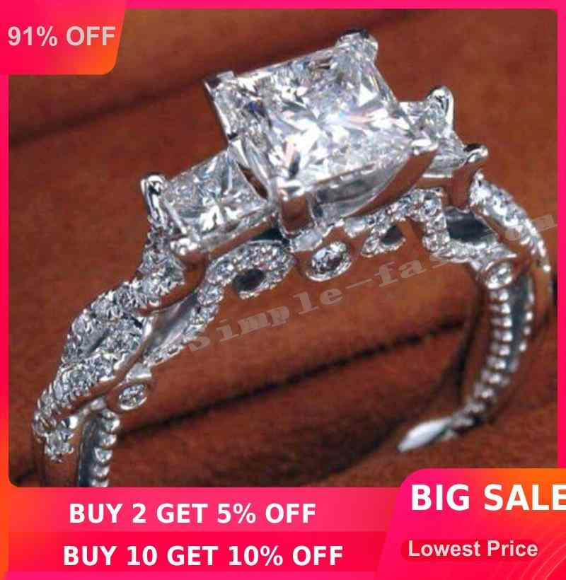 2016 Women vintage ring Handmade Three-stone 2ct 5A Zircon Cz 925 Sterling silver Engagement Wedding Band Ring for women