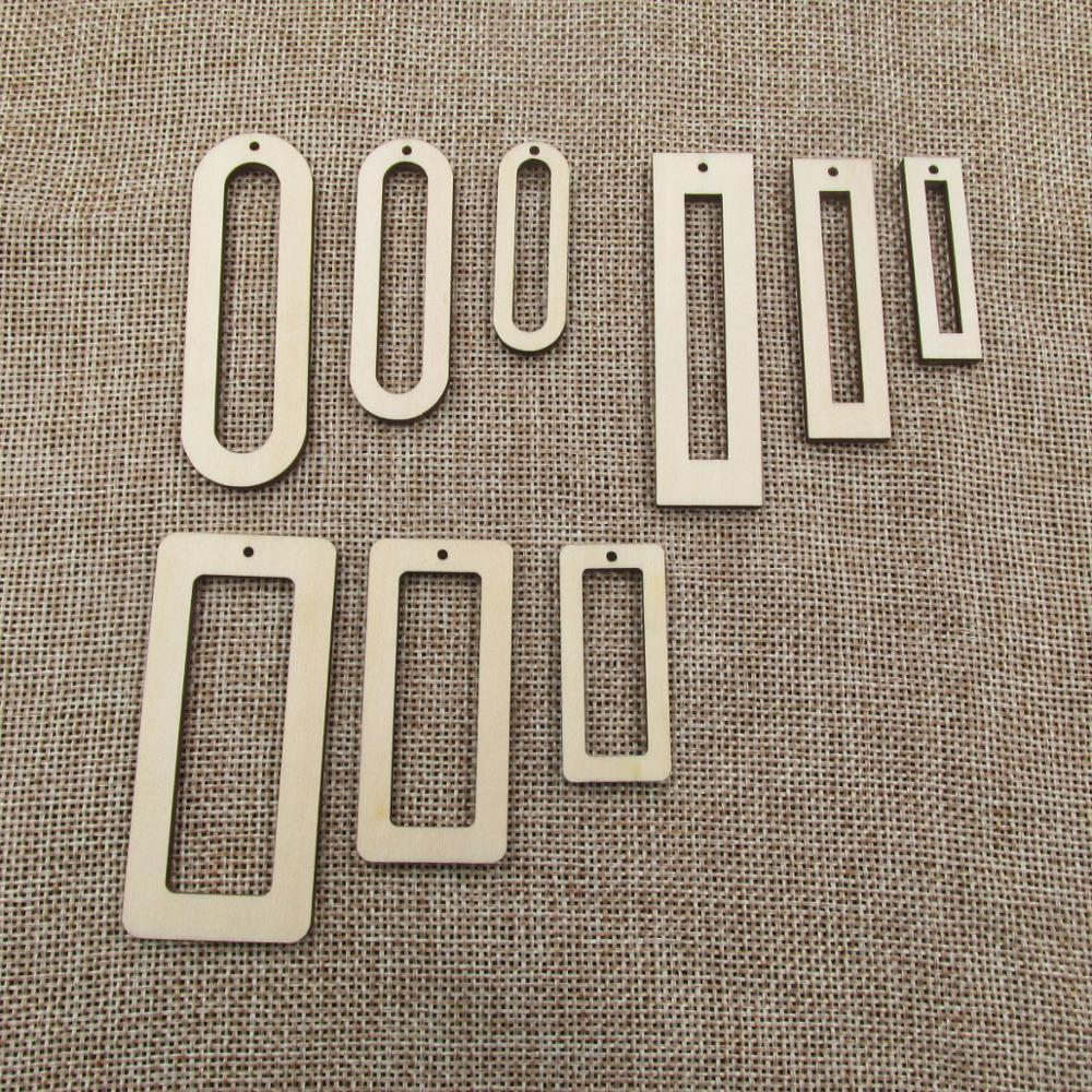 Diy inacabado corte a laser círculo de madeira retângulo formas em branco brincos de madeira por atacado contas para jóias diy fazendo