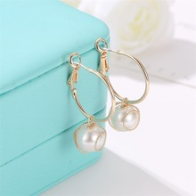 Korean Version of Simple Personality Earrings Retro Temperament Winding Pearl Lady Ornaments Boho