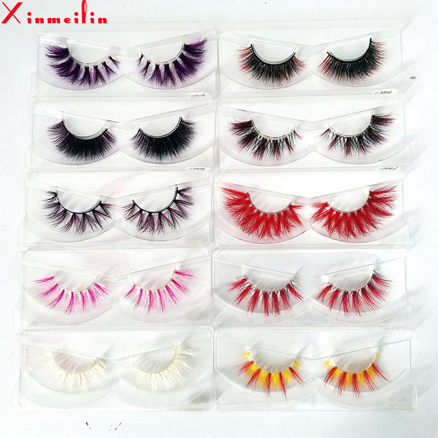 New color 3D luxury mink lashes wholesale natural long individual thick fluffy colorful false eyelashes Makeup Extension Tools 1
