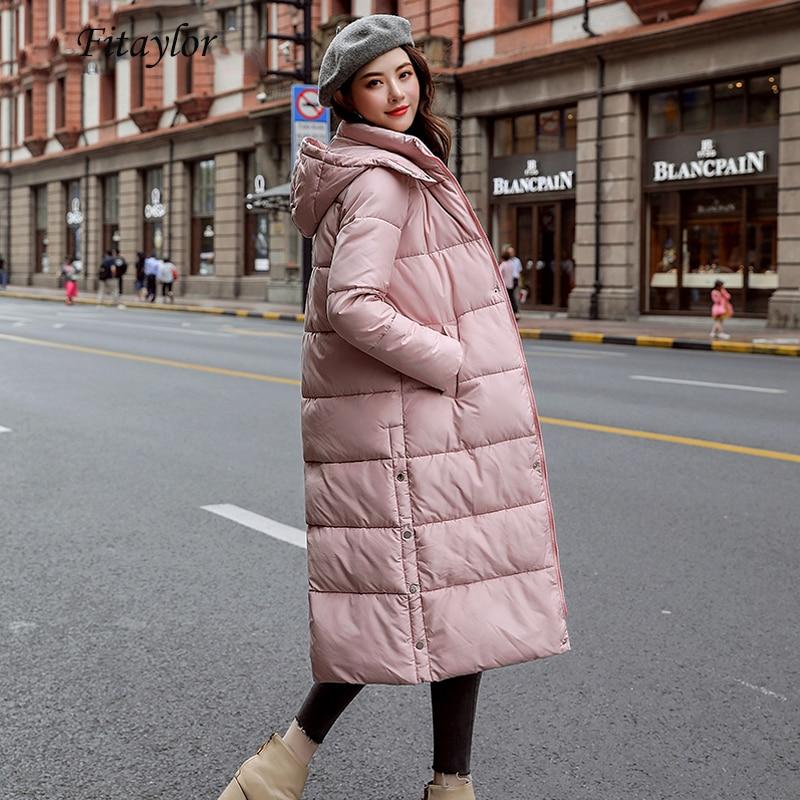Fitaylor зимнее пальто с хлопковой подбивкой парка с длинным капюшоном женские теплые утепленные Большие размеры 3xl съемный головной убор Женская хлопковая верхняя одежда
