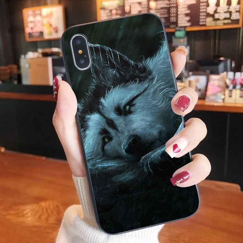 Etui na telefon wilk zwierząt kolorowe ładny telefon etui na iPhone 11 pro XS MAX 8 7 6 6S Plus X 5 5S SE XR przypadku
