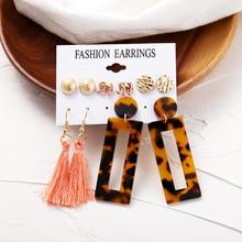 2019 Fashion Geometric Acrylic Dangle Earring Sets For Women Bohemian Resin Long Tassel Drop Earrings Party  Jewelry Gift Female resin tassel geometric drop earrings
