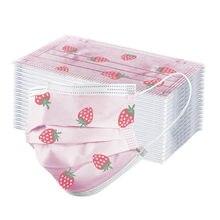 Masque buccal jetable pour enfants, lot de 10/20/50/100 pièces, à 3 plis, avec boucles auriculaires, rose, imprimé papillon