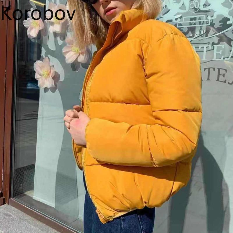 Korobov Harajuku однотонные короткие женские парки корейские однотонные зимние куртки с длинным рукавом теплые пальто на молнии с воротником-стой...