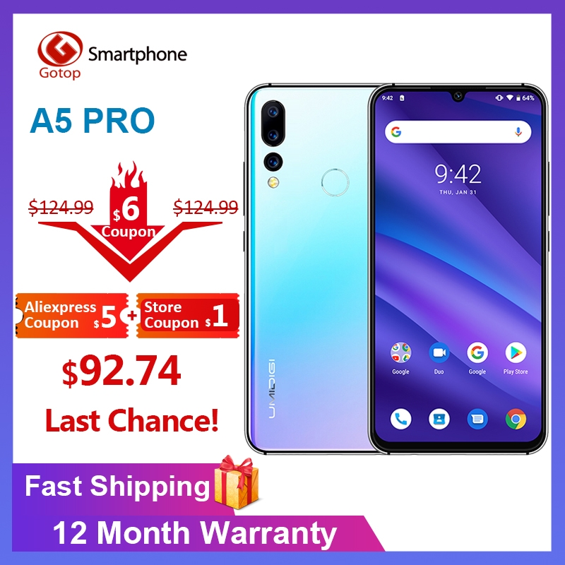 Global Version UMIDIGI A5 PRO Android 9.0 Octa Core Mobile Phone 6.3' FHD+ 16MP Triple Camera 4150mAh 4GB RAM 32G ROM Smartphone