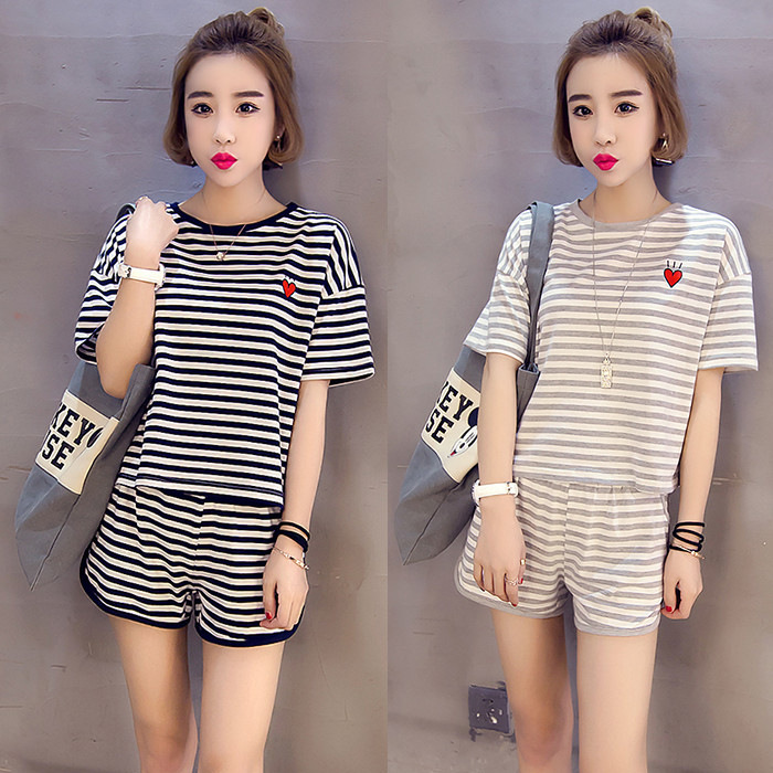 2020 New Style Summer Stripes Peach Heart WOMEN'S Suit Cartoon Cute Tracksuit-Outer Wear GIRL'S Have Pocket