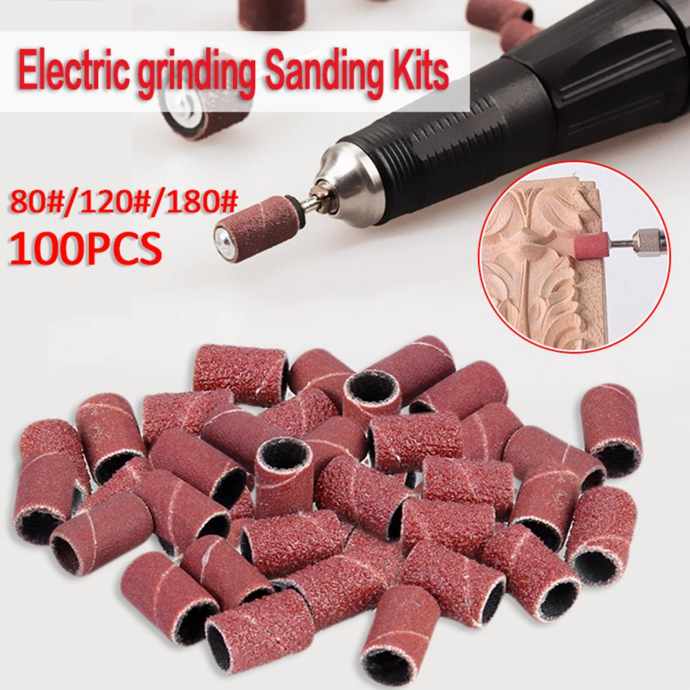 100 PCS/ Set 6.35 Mm/0.25 Inch Electric Grinder Accessories Sanding Sleeves Bands Drum Sander Set Wood Abrasive Tool