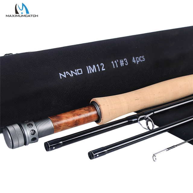 Maximumcatch NANO nimfa 10FT/11FT 2/3/4wt Fly Fishing Rod IM12 grafitowy z włókna węglowego szybka akcja haczyk na muchę z Cordura rury