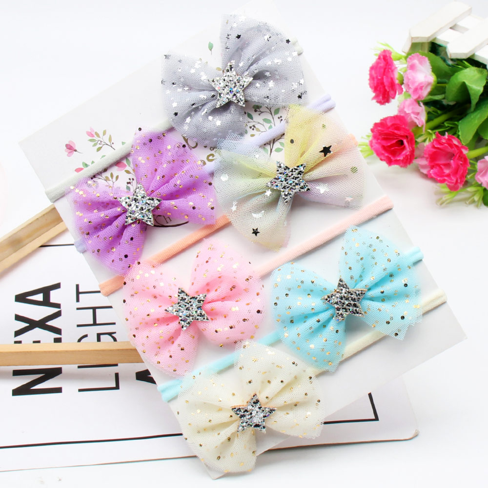 6Pcs/lot Headband For Girls Handmade Glitter Organza Hair Bows Nylon Hair Bands Baby Kids Headwear Cute Hair Accessories