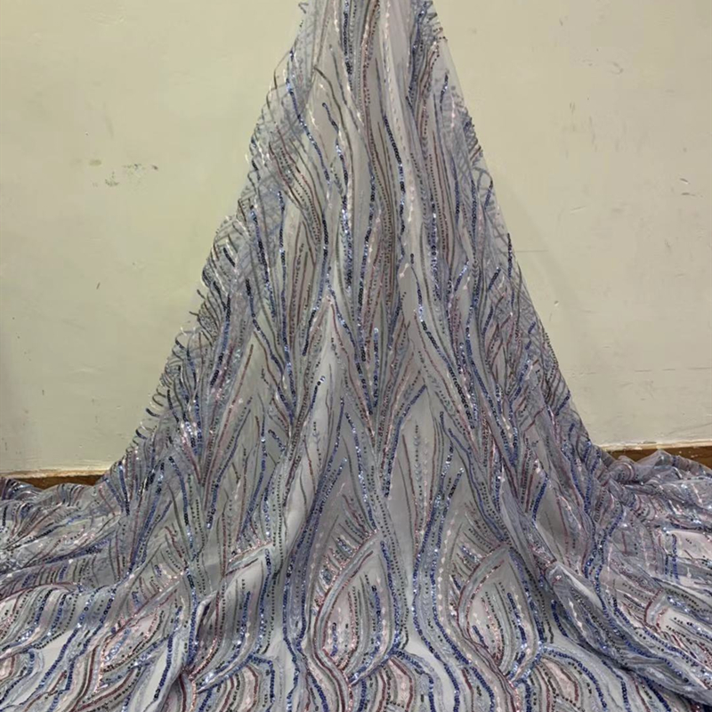 Latest Nigerian Lace Fabric 2020 High Quality African Sequins Lace Embroidered Tulle French Lace Fabric Bridal For Wedding