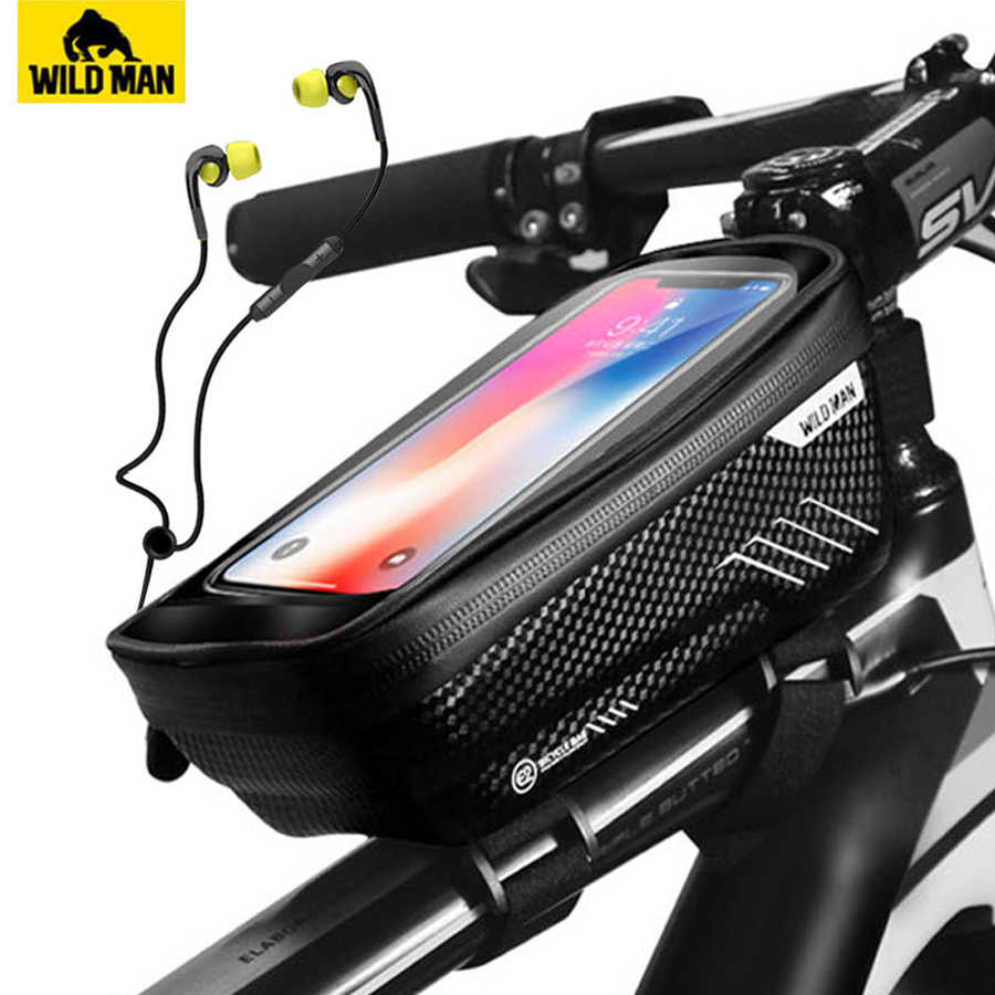 WILD MAN Hard Bicycle Bags MTB Bike Frame Front Head Top Tube Saddle Pouch