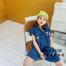 Children's clothing 2020 summer new children's lapel printed jumpsuit girls short-sleeved jumpsuit