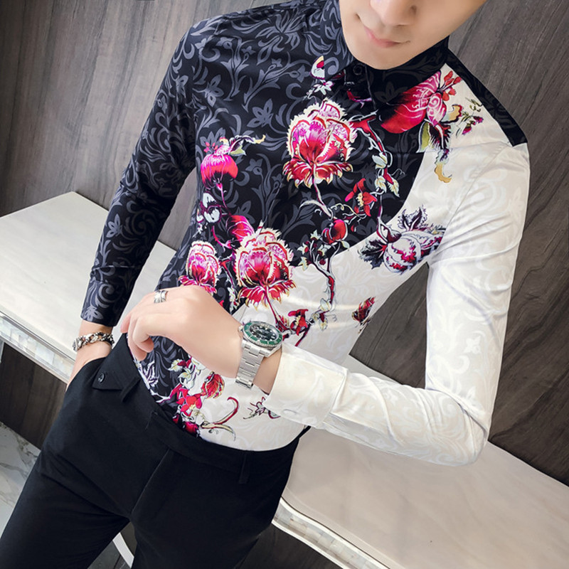 28.1 45,(M-3XL),Men`s shirt spring and autumn new men`s luxury satin pattern shirt men`s slim long-sleeved shirt wedding groomsman formal shirt