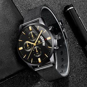 Image 2 - 남자 시계 SHAARMS 브랜드 럭셔리 날짜 캐주얼 남자 스테인레스 스틸 방수 망 쿼츠 손목 시계