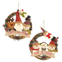 New Year Xmas Christmas Garland Hanging Ornaments Santa Claus Snowman Rattan Ring Pendants for Home Door Window Wall Decorations