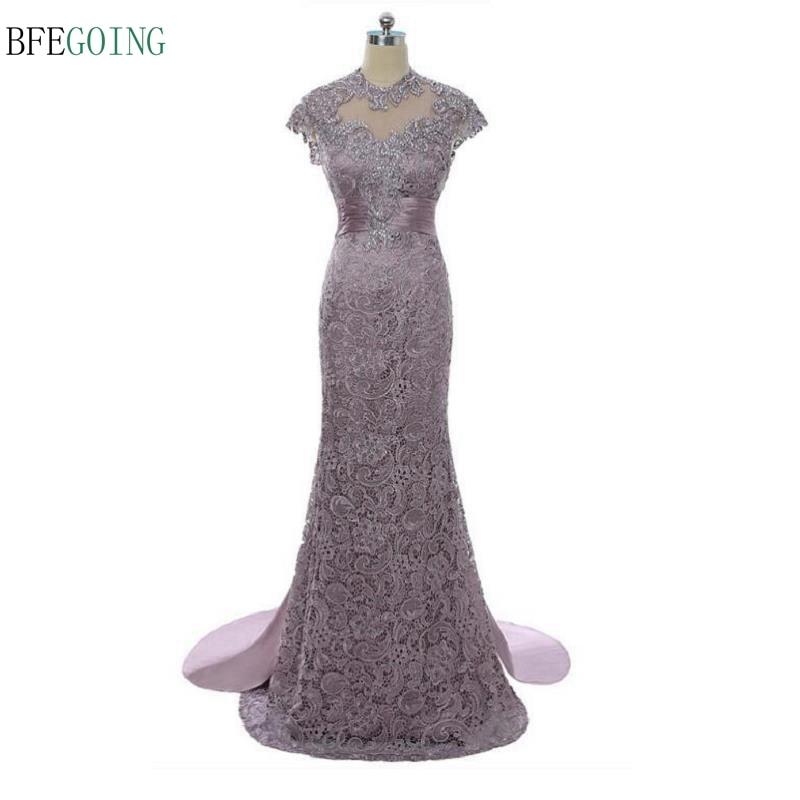 Lace Satin Backless Floor -length Mermaid/Trumpet Mother The Bride Dress Chapel Train Custom Made
