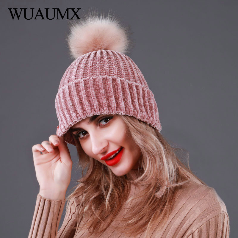 Wuaumx Brand Knitted Winter Hats For Women Fur Pompom Hat Solid Green Black Pink Casual Female Skullies Beanies Wholesale