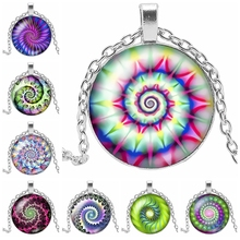 2019 New Color Series Kaleidoscope Glass Cabochon Pendant Necklace Fashion Psychedelic Jewelry Gift