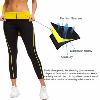 LAZAWG Women's Neoprene Sauna Slimming Pants Gym Workout Hot Thermo Sweat Sauna Capris Leggings Body Shapers Waist Trainer Pant 2