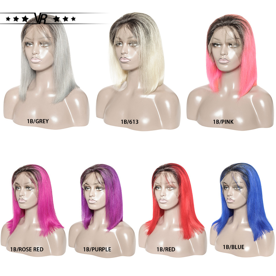 VR Star Quality Ombre Lace Front Short Bob Human Hair Wig 13x6 1B/613 1B/Pink 1B/Blue 10 12 14