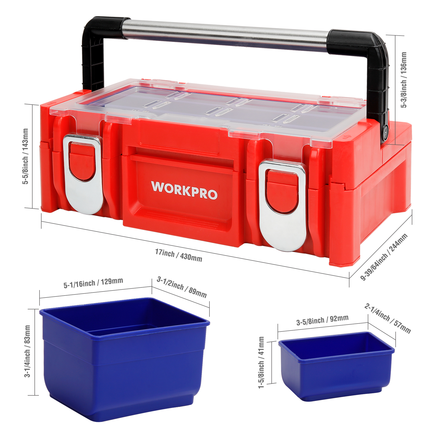 WORKPRO 17-inch Plastic Tool Box