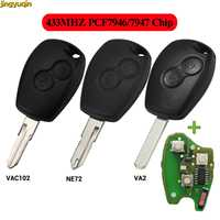 Jingyuqin remoto chave do carro 433 mhz pcf7947 pcf7946 chip para renault duster modus clio 3 twingo dacia logan sandero kangoo 2 botões