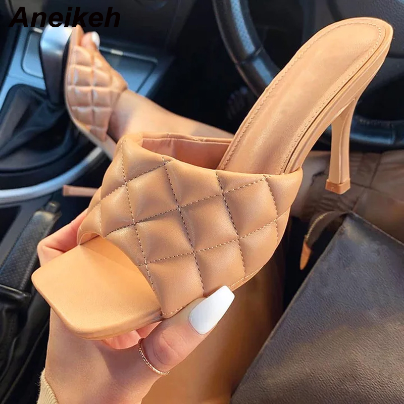 Aneikeh New Square Toe High Heel Mules Women Slipper 2020 Summer Ladies Sandal Sewing High Quality Stiletto Dress Shoes Slides