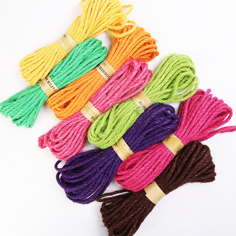 2yard 6mm Colored Braided Hemp Rope DIY Wedding Birthday Wedding Decoration Rattan Gift Bouquet Packaging Rope