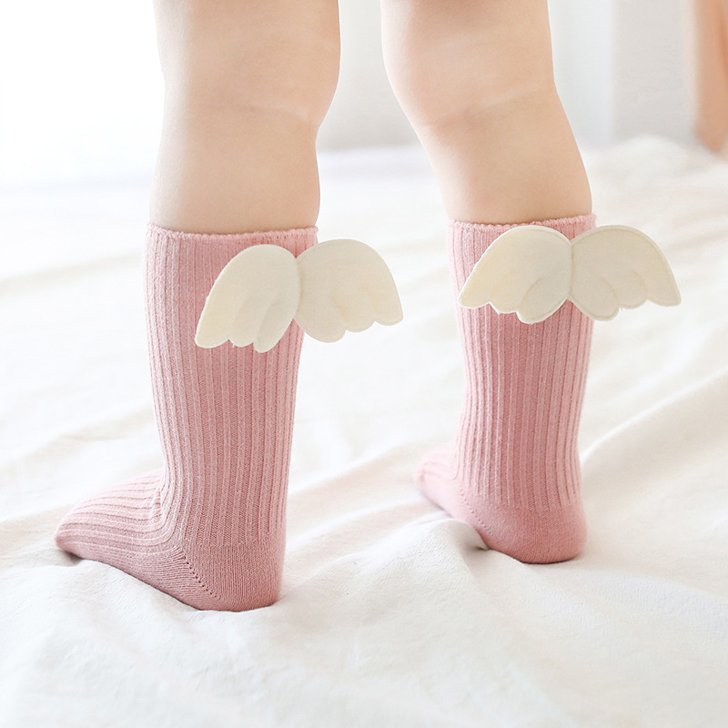 Baby Girl Angel Wing Socks Toddler High Sock Cotton Newborn Anti-slip Socks Solid Color Infant Leg Warmer  Baby Socks For Girls
