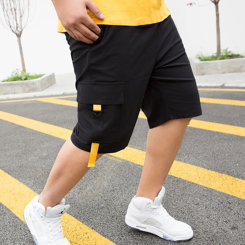 Calções masculinos cargo fit 60-140kg, novidade de 2020, verão, casual, bolso maior, clássico, 95% algodão calças curtas problemas