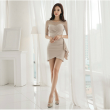 Korean Style See Through Dress Mini Women Half Sleeve Slim Package Hip Wrap Dresses Ruffle Sheath Basic Fall