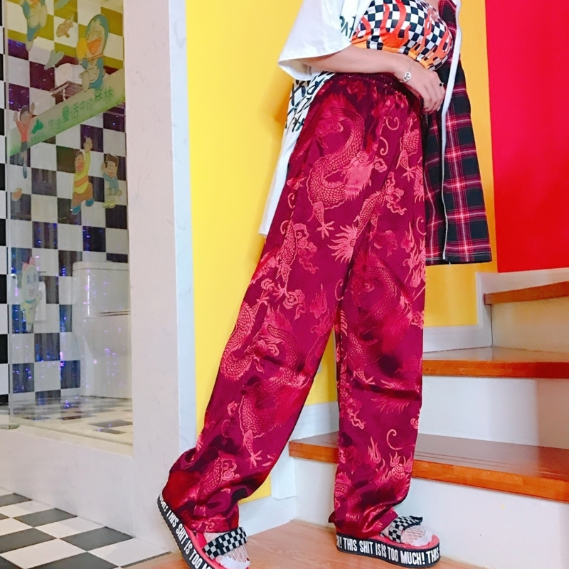 Harajuku   Pants   Elastic Waist Chinese Style Dragon Embroidery Vintage Autumn   Wide     Leg     Pants   Women Trousers