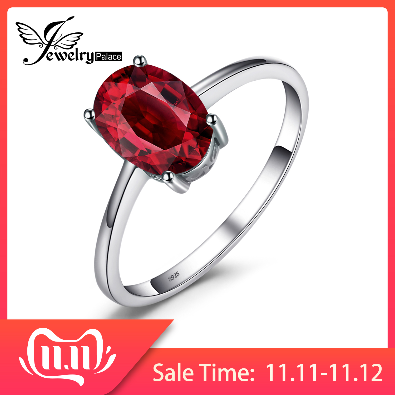 JewelryPalace Genuine Garnet Ring Solitaire 925 Sterling Silver Rings For Women Engagement Ring Silver 925 Gemstones Jewelry