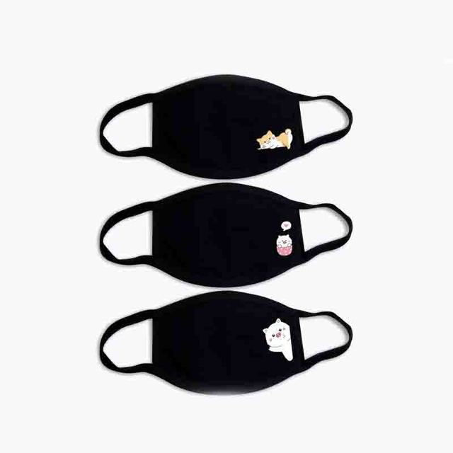 3pc Black Breathable Cotton Dustproof Mouth Face Mask Anime Cartoon Kpop Lucky Bear Cat Heart Women Men Muffle Face Mouth Masks