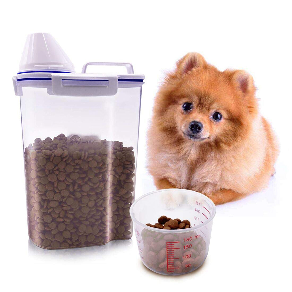 Pet Dog Cat Feeder Container Bucket pet Food Storage Box Container with Measuring Cup Box Storage Tank Pet Storage Grain Barrel image