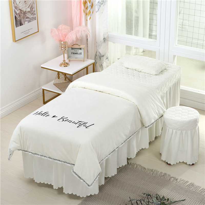 4-6pcs Beauty Bedspread Thick Warm Crystal Fleece Bed <font><b>Skirt</b></font> Beauty Salon Massage Body Simple Bed Cover image